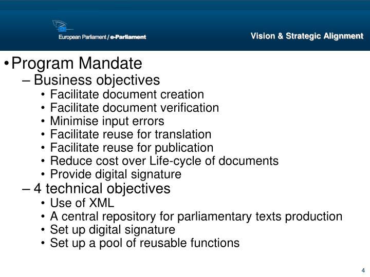 Program Mandate