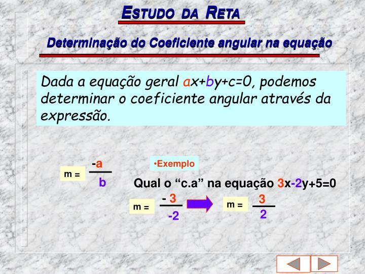 Determinação do Coeficiente angular na equação