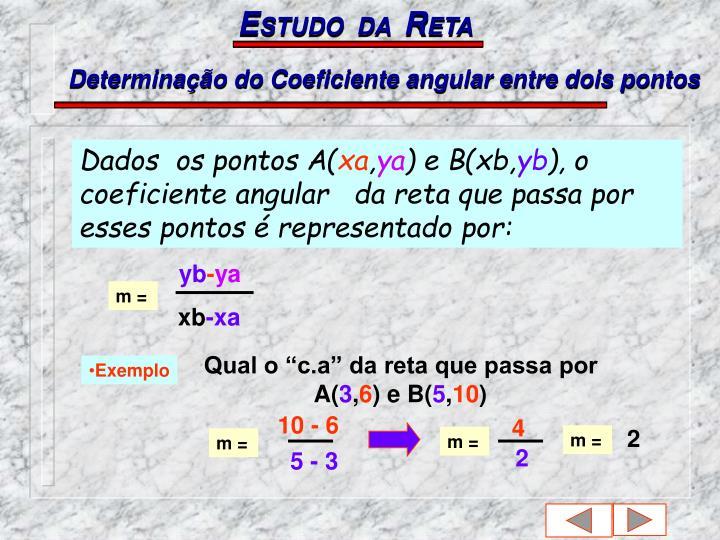 Determinação do Coeficiente angular entre dois pontos
