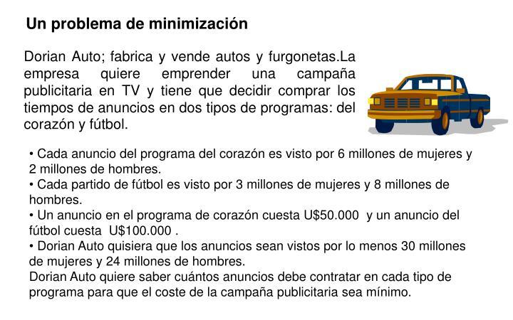 Dorian Auto; fabrica y vende autos y furgonetas.La empresa quiere emprender una campaña publicitaria en TV y tiene que decidir comprar los tiempos de anuncios en dos tipos de programas: del corazón y fútbol.