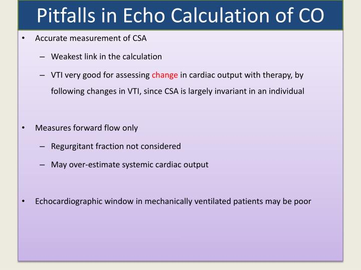 Pitfalls in Echo Calculation of CO