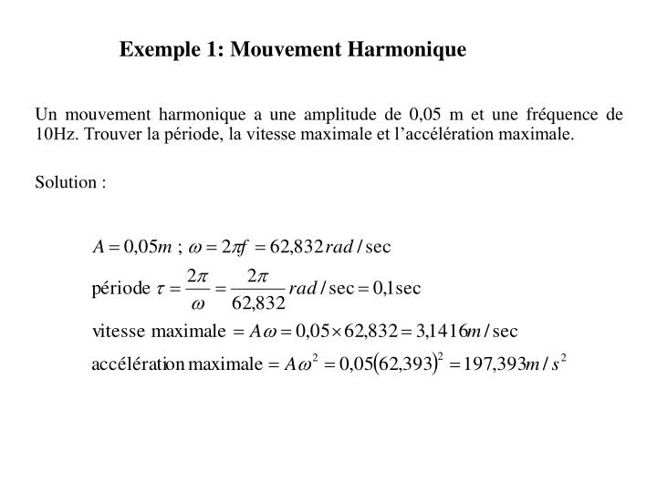 Exemple 1: Mouvement Harmonique