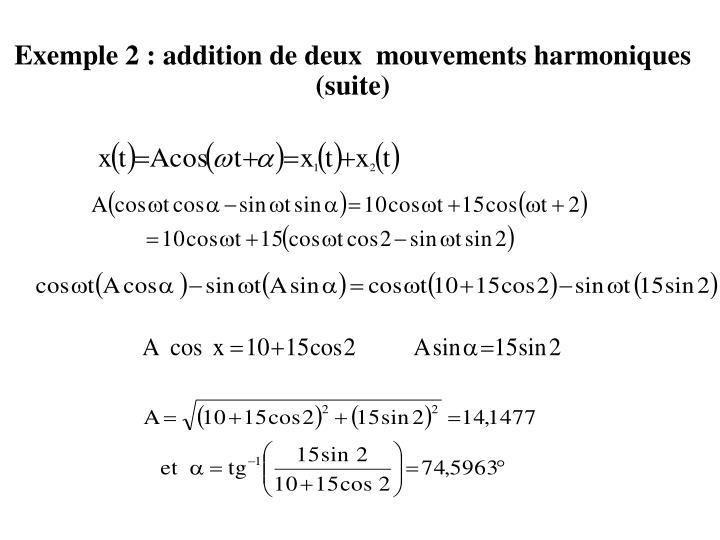 Exemple 2 : addition de deux  mouvements harmoniques  (suite)