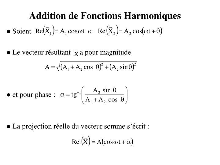 Addition de Fonctions Harmoniques