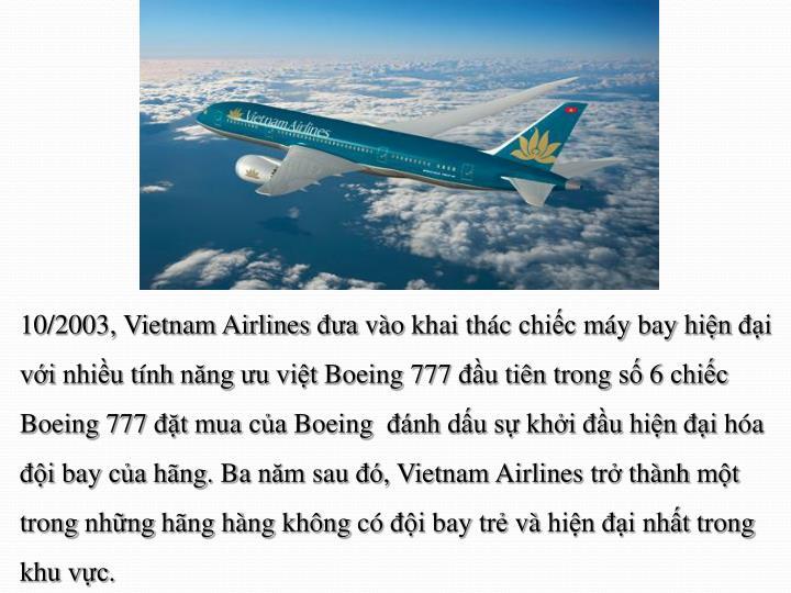 10/2003, Vietnam Airlines