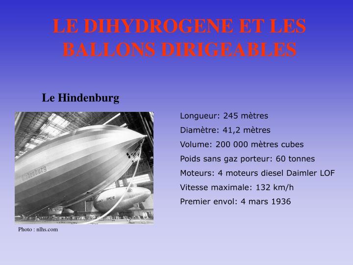 LE DIHYDROGENE ET LES BALLONS DIRIGEABLES