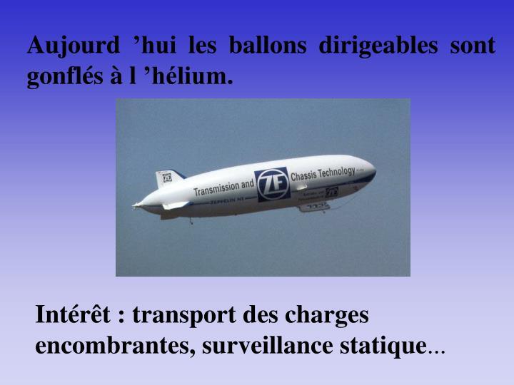 Aujourd'hui les ballons dirigeables sont gonflés à l'hélium.