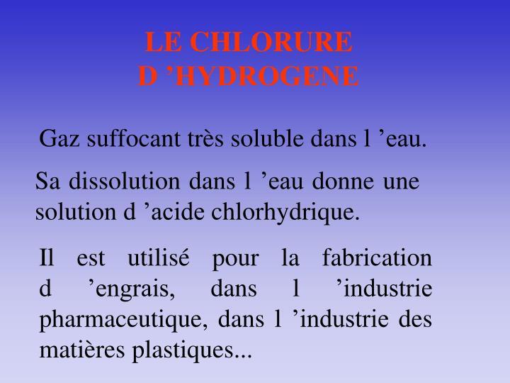 LE CHLORURE D'HYDROGENE