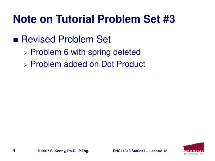 Note on Tutorial Problem Set #3