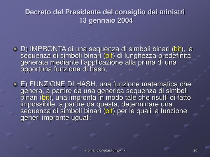 Decreto del Presidente del consiglio dei ministri