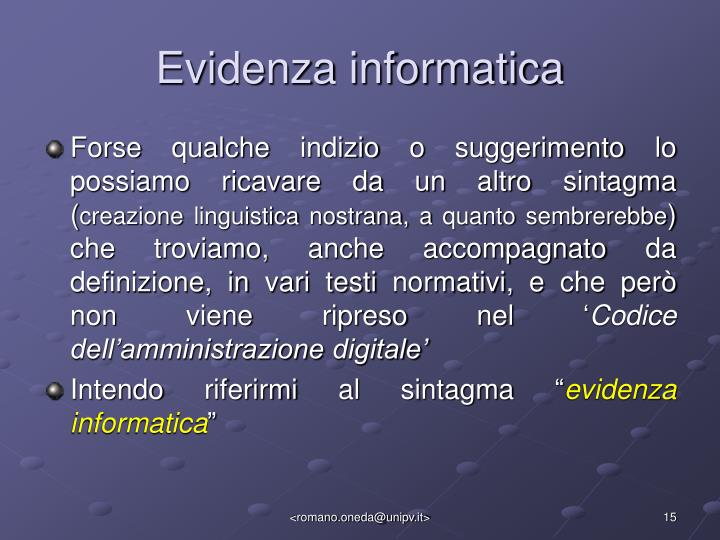 Evidenza informatica