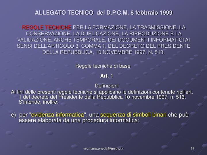 ALLEGATO TECNICO del D.P.C.M. 8 febbraio 1999