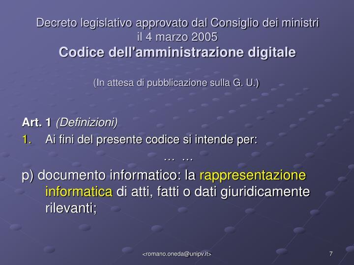 Decreto legislativo approvato dal Consiglio dei ministri