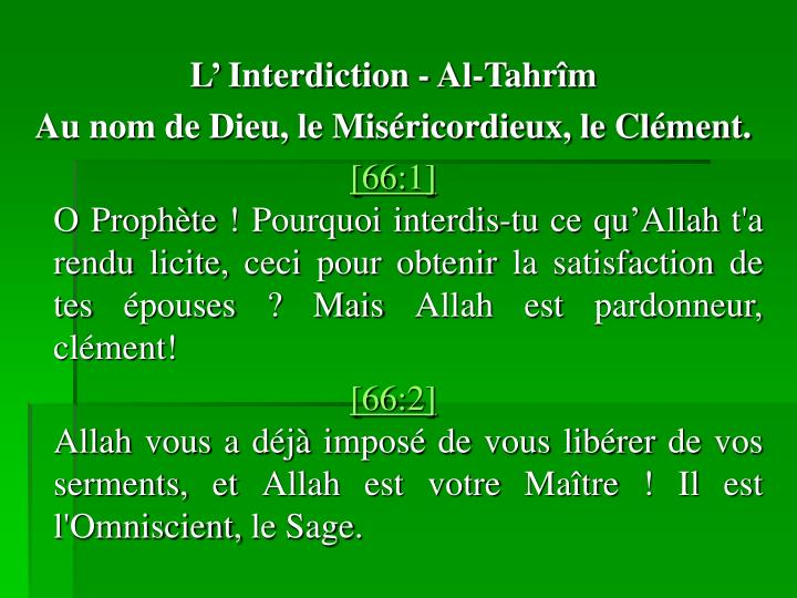 L Interdiction - Al-Tahrm