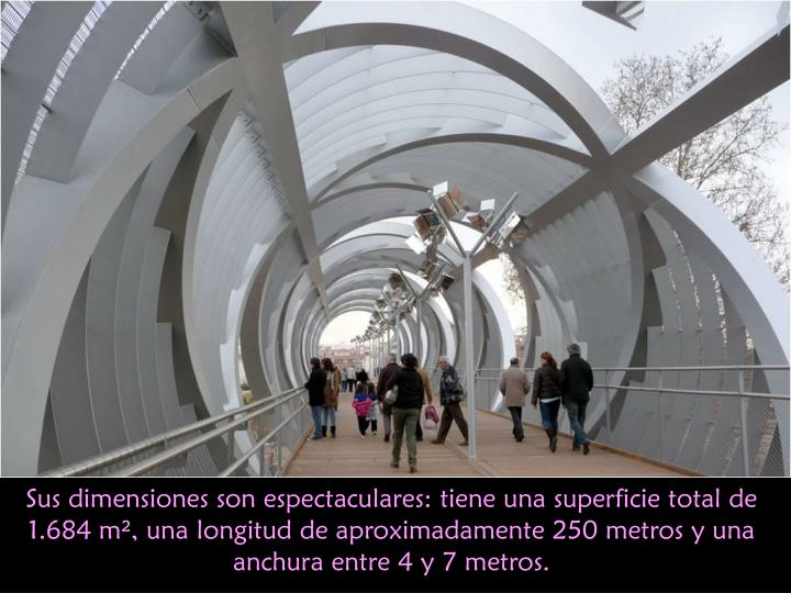 Sus dimensiones son espectaculares: tiene una superficie total de 1.684 m², una longitud de aproximadamente 250 metros y una anchura entre 4 y 7 metros.