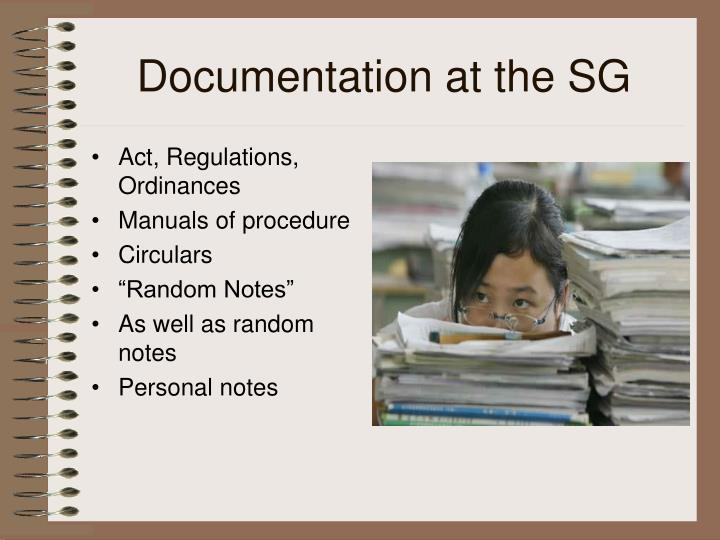 Documentation at the SG