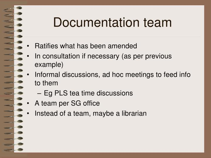 Documentation team