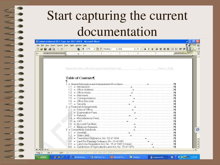 Start capturing the current documentation