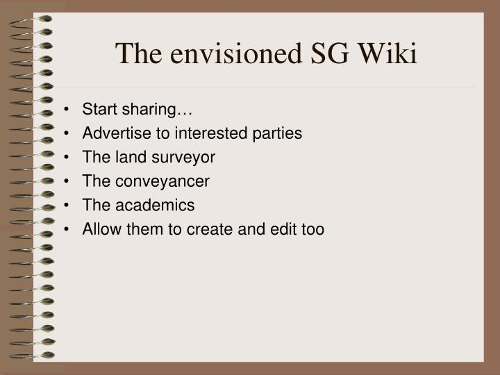The envisioned SG Wiki