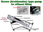 screw archimedes type pump for effluent lifting