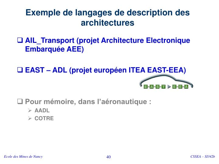 Exemple de langages de description des architectures