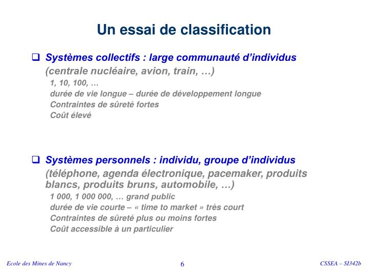 Un essai de classification