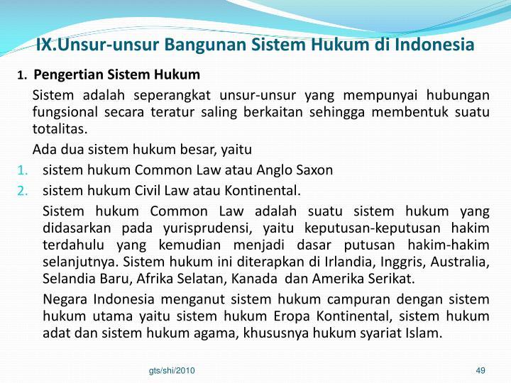 IX.Unsur-unsur Bangunan Sistem Hukum di Indonesia