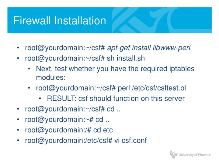 Firewall Installation