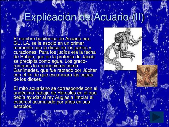 Explicación de Acuario (II)