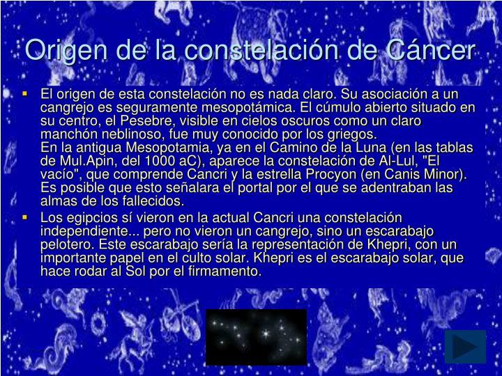 Origen de la constelación de Cáncer