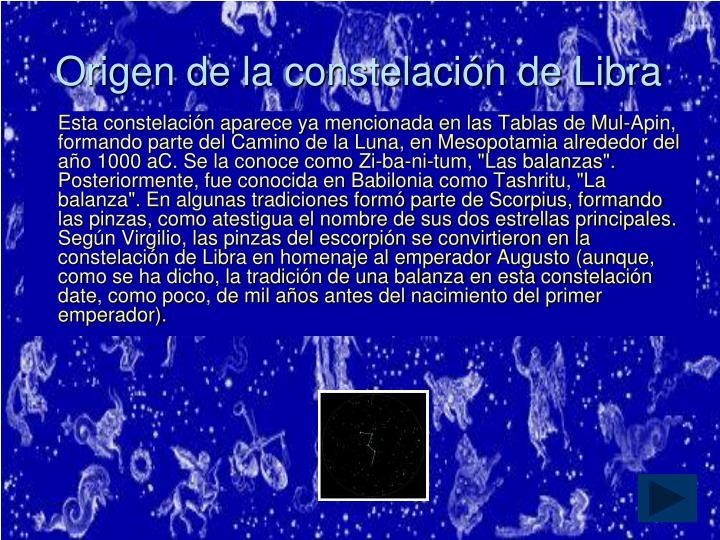 Origen de la constelación de Libra