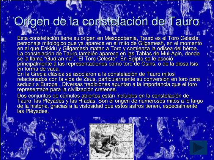 Origen de la constelación de Tauro