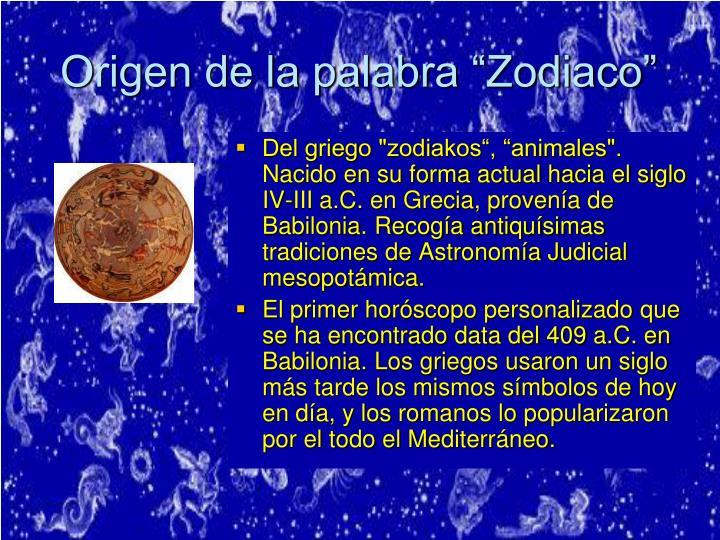 """Origen de la palabra """"Zodiaco"""""""