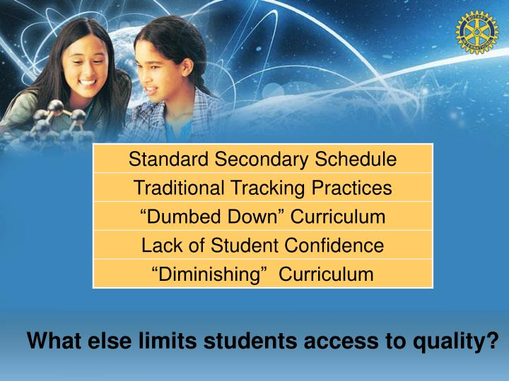 What else limits students access to quality?