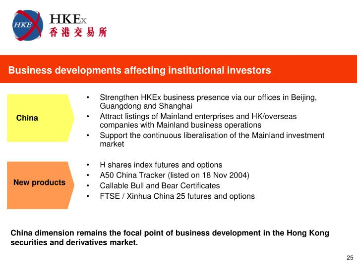 Business developments affecting institutional investors