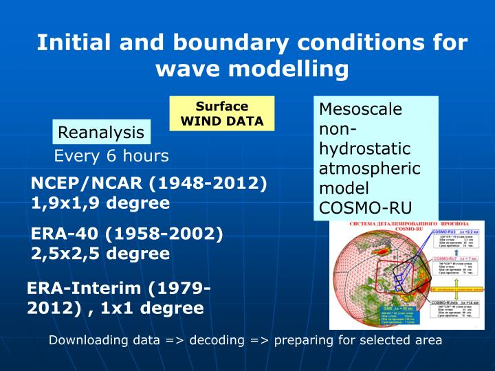 Initial and boundary conditions for wave modelling