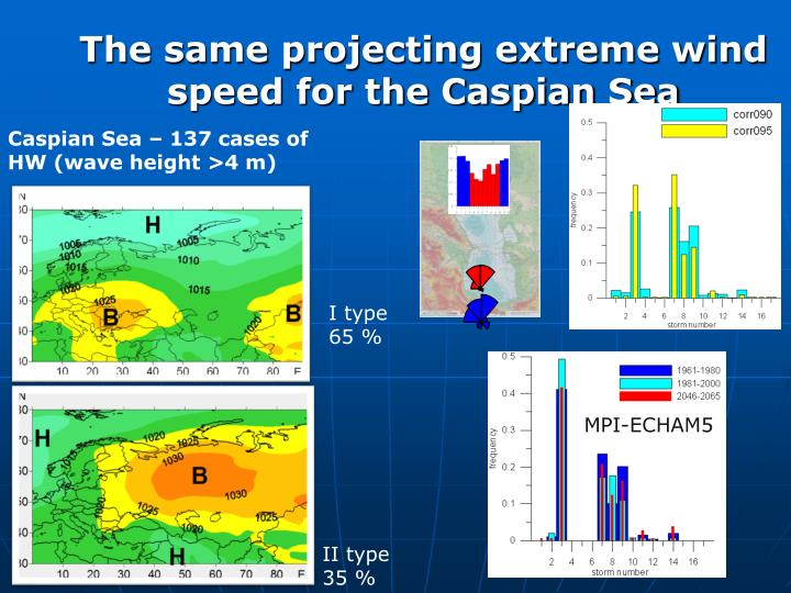 The same projecting extreme wind speed for the Caspian Sea