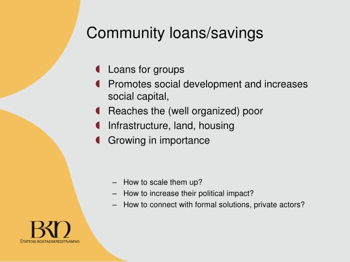 Community loans/savings