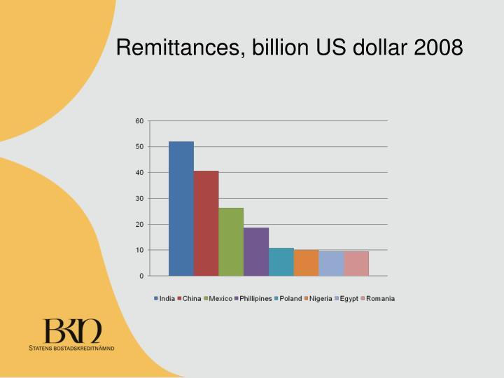 Remittances, billion US dollar 2008