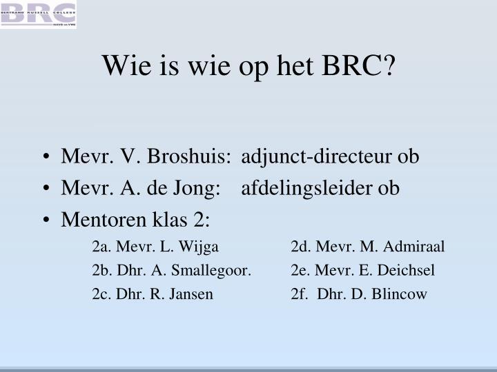 Wie is wie op het BRC?