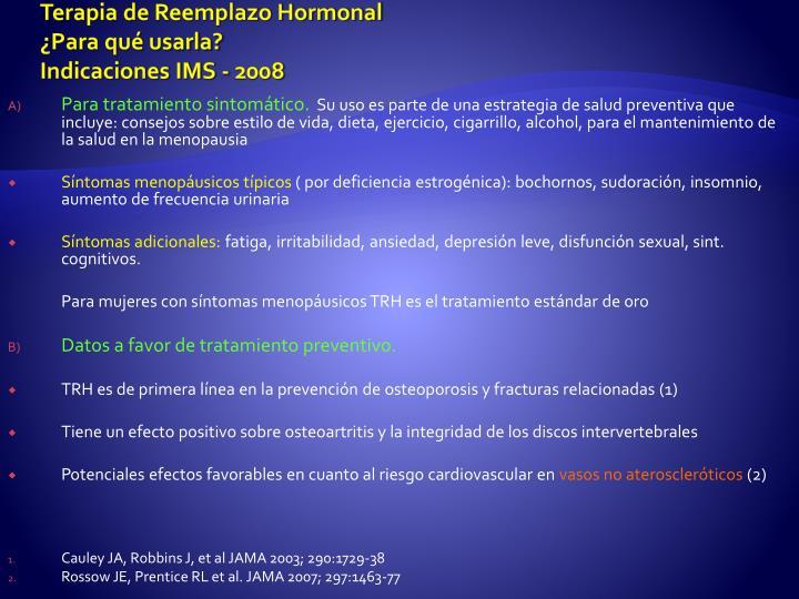 Terapia de Reemplazo Hormonal