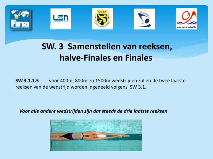 SW. 3  Samenstellen van reeksen, halve-Finales en Finales