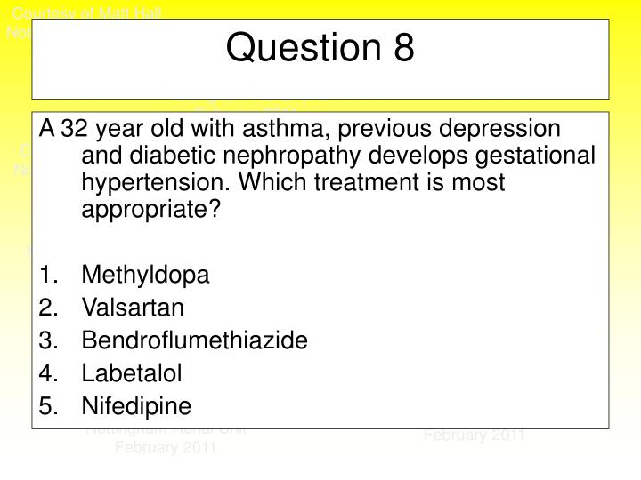 A 32 year old with asthma, previous depression and diabetic nephropathy develops gestational hypertension. Which treatment is most appropriate?