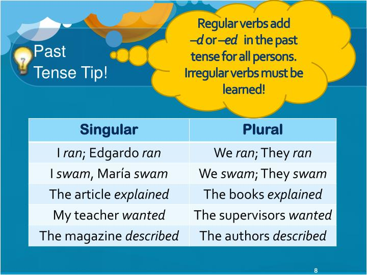 Regular verbs add                  –