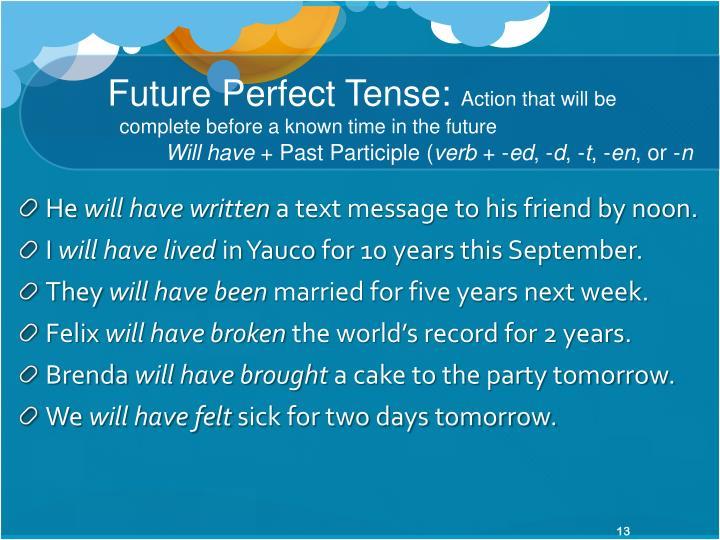 Future Perfect Tense: