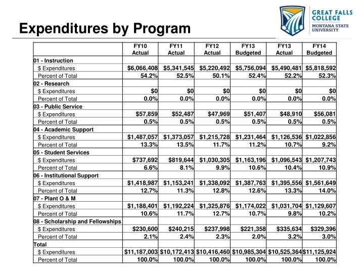 Expenditures by Program