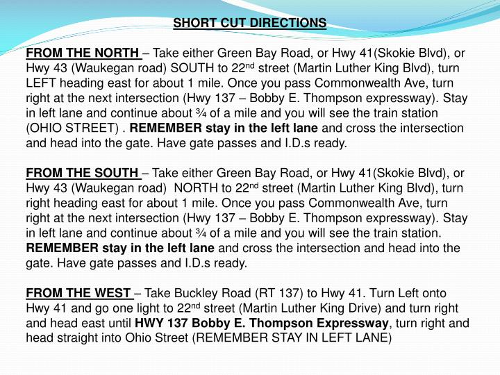 SHORT CUT DIRECTIONS