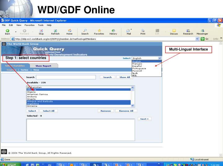 WDI/GDF Online