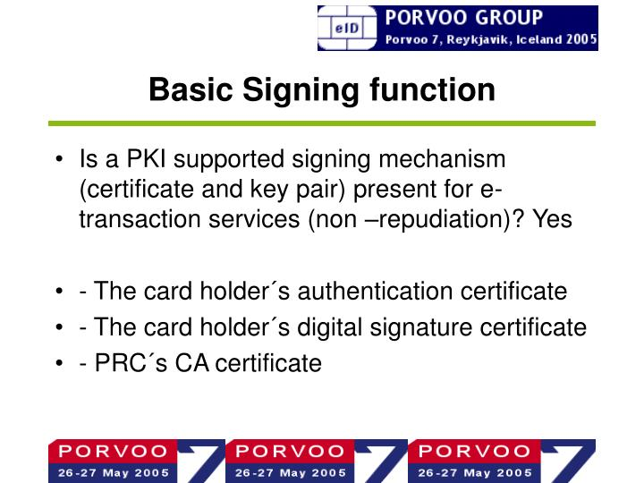 Basic Signing function