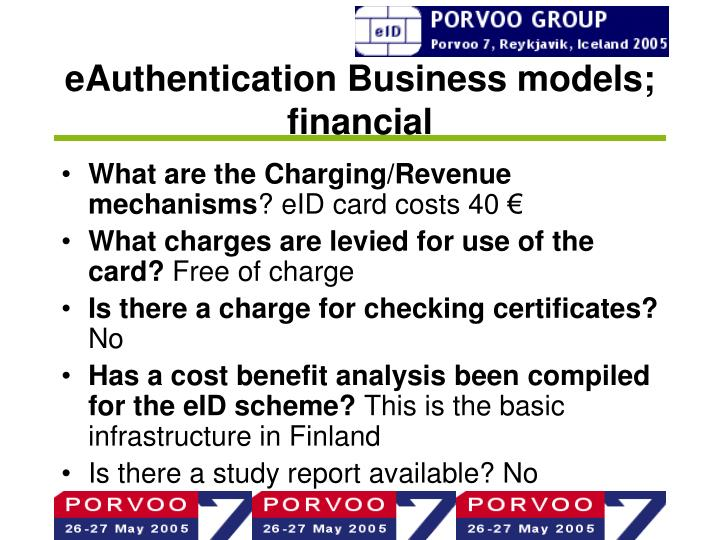 eAuthentication Business models; financial